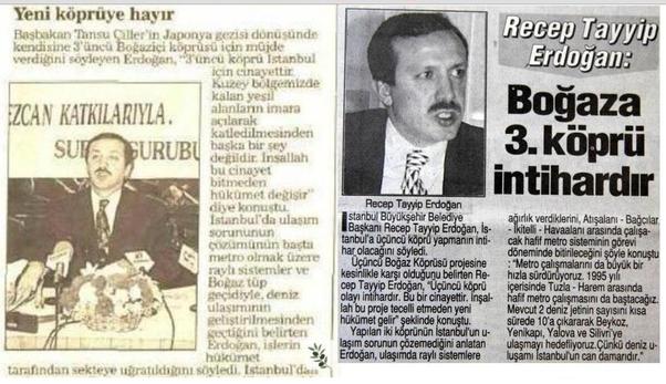 1995'te Erdoğan 3. köprüye karşı çıkmıştı.
