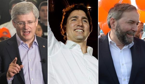 Haper, Trudeau, Mulcair.